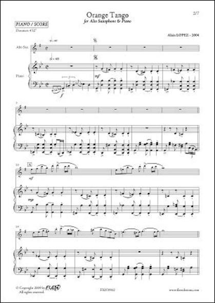 Orange Tango - A. LOPEZ - Saxophone Alto & Piano
