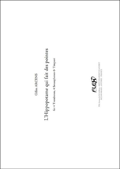 L'Hippopotame qui Fait des Pointes - G. ARCENS - Quatuor de Trombones, Quatuor de Sousaphones et Timbales