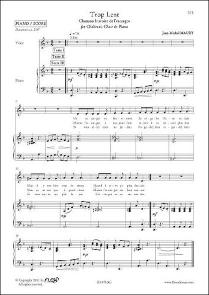 Trop Lent - J.-M. MAURY - Chorale d'Enfants et Piano