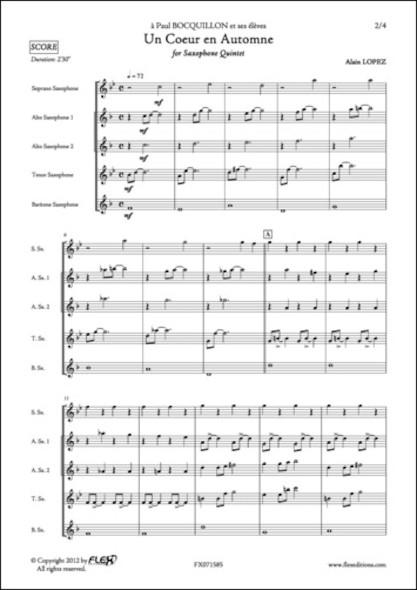 Un Coeur en Automne - A. LOPEZ - Quintette de Saxophones