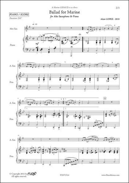 Ballad for Marine - A. LOPEZ - Saxophone Alto & Piano