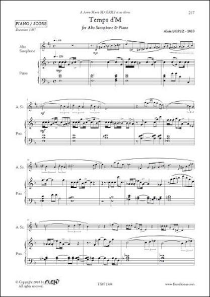 Temps d'M - A. LOPEZ - Saxophone Alto & Piano