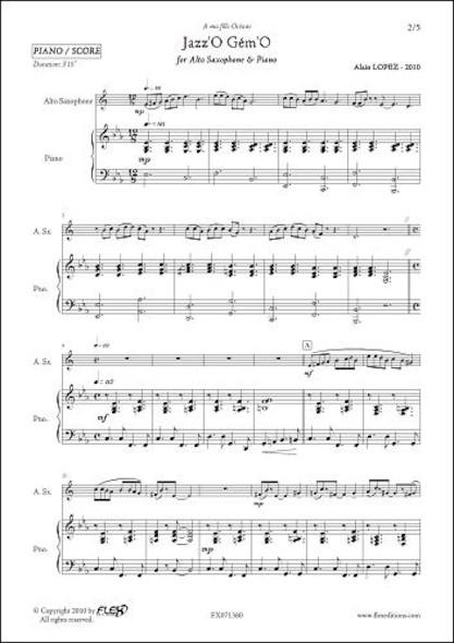 Jazz'O Gém'O - A. LOPEZ - Saxophone Alto & Piano