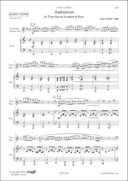 Ambiances - A. LOPEZ - Saxophone Ténor ou Soprano & Piano