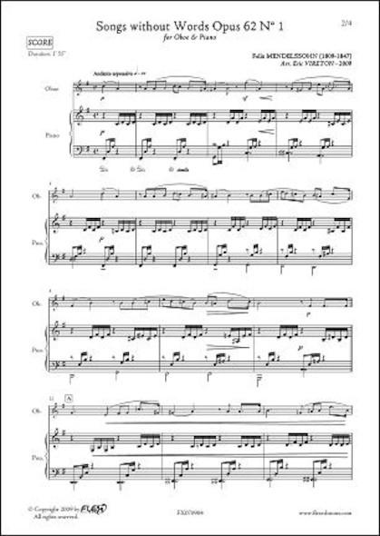 Romances sans Paroles Opus 62 No. 1 - F. MENDELSSOHN - Hautbois & Piano