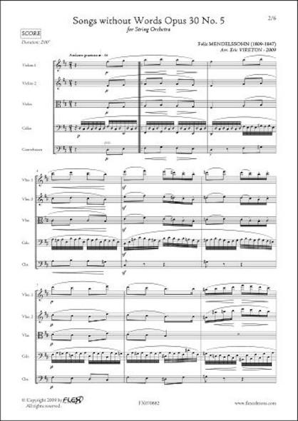 Romances sans Paroles Opus 30 No. 5 - F. MENDELSSOHN -  Orchestre à Cordes