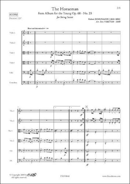 Le Cavalier Intrépide - R. SCHUMANN -  Sextuor à Cordes