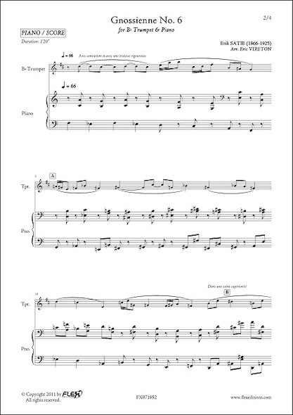 Gnossienne No. 6 - E. SATIE - Trompette & Piano