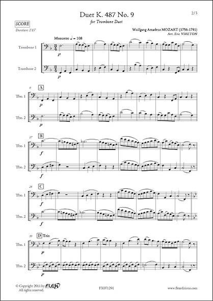 Duo K. 487 No. 9 - W. A. MOZART - Duo de Trombones