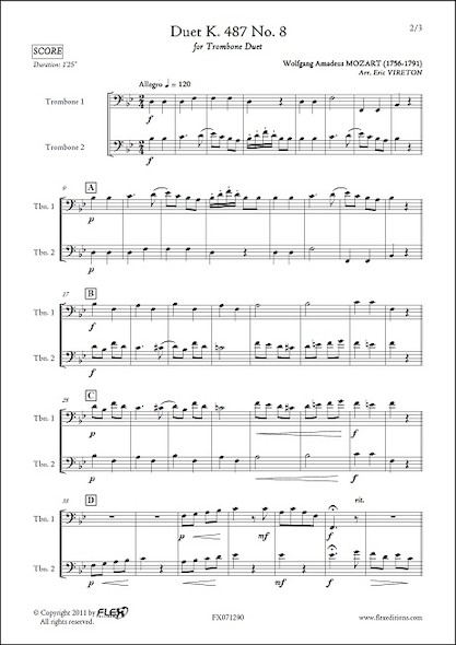 Duo K. 487 No. 8 - W. A. MOZART - Duo de Trombones