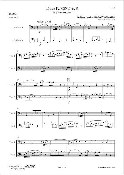 Duo K. 487 No. 3 - W. A. MOZART - Duo de Trombones
