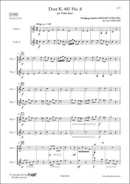 Duo K. 487 No. 8 - W. A. MOZART - Duo de Violons