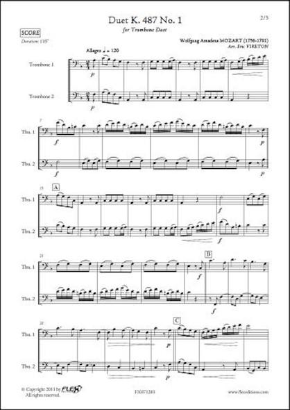 Duo K. 487 No. 1 - W. A. MOZART - Duo de Trombones