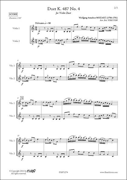 Duo K. 487 No. 4 - W. A. MOZART - Duo de Violons