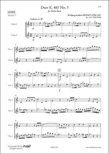Duo K. 487 No. 3 - W. A. MOZART - Duo de Violons