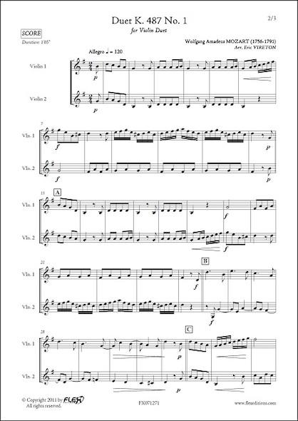 Duo K. 487 No. 1 - W. A. MOZART - Duo de Violons