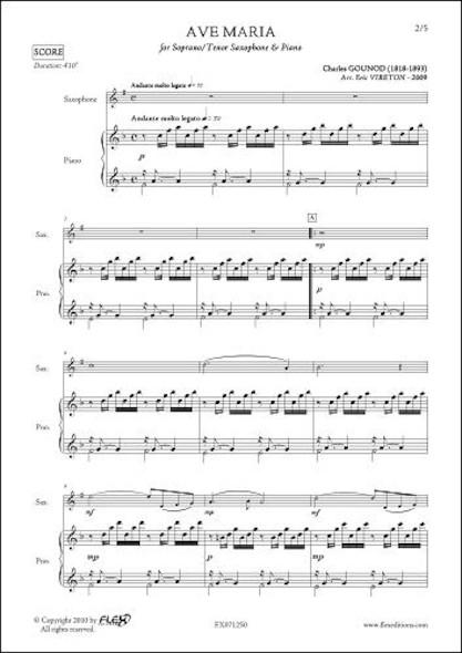 Ave Maria - C. GOUNOD - Saxophone Tenor ou Soprano & Piano