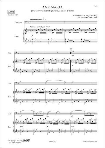 Ave Maria - C. GOUNOD - Trombone ou Euphonium ou Tuba & Piano
