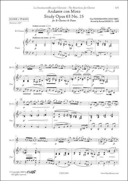 Andante con Moto - Etude Opus 63 No. 15 - C. BAERMANN - Clarinette