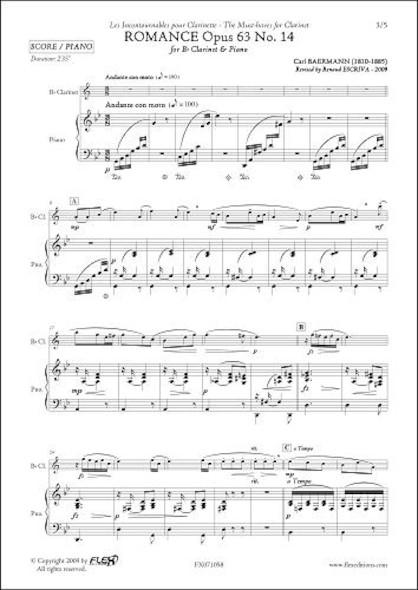 Romance - Etude Opus 63 No. 14 - C. BAERMANN - Clarinette
