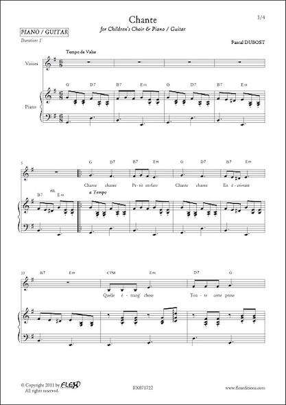 Chante - P. DUBOST - Chorale d'Enfants et Piano ou Guitare