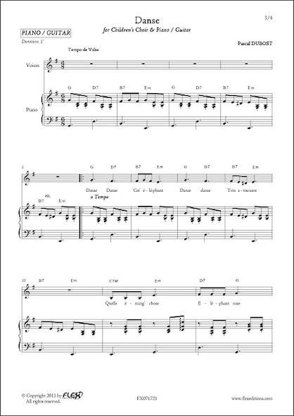 Danse - P. DUBOST - Chorale d'Enfants et Piano ou Guitare