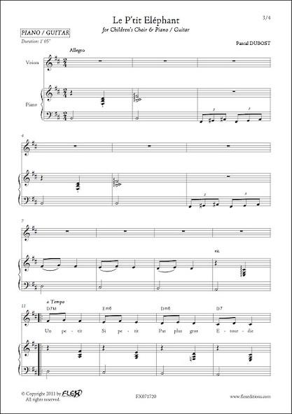 Le P'tit Eléphant - P. DUBOST - Chorale d'Enfants et Piano ou Guitare