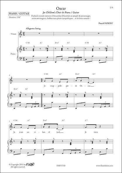 Oscar - P. DUBOST - Chorale d'Enfants et Piano ou Guitare