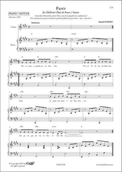 Partir - P. DUBOST - Chorale d'Enfants et Piano ou Guitare