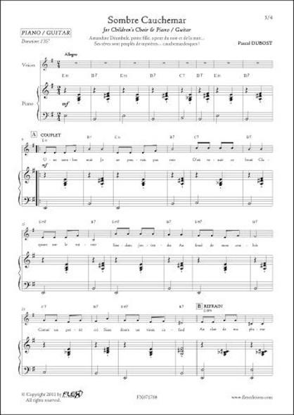 Sombre Cauchemar - P. DUBOST - Chorale d'Enfants et Piano ou Guitare