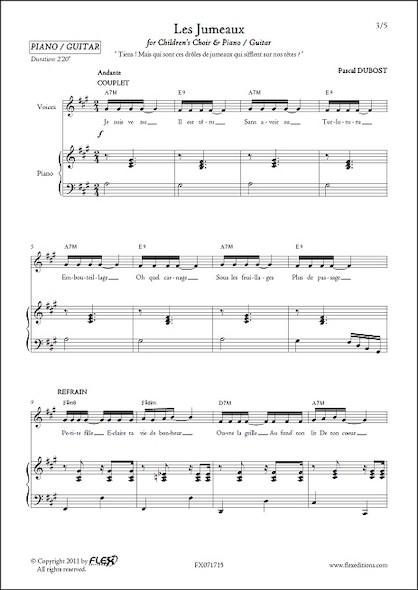 Les Jumeaux - P. DUBOST - Chorale d'Enfants et Piano ou Guitare