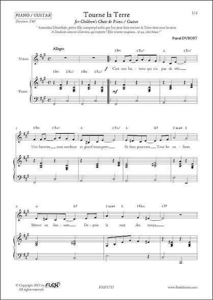Tourne La Terre - P. DUBOST - Chorale d'Enfants et Piano ou Guitare