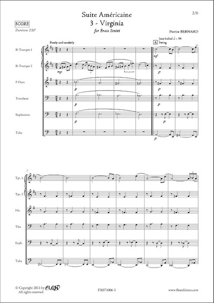 Suite Américaine - 3 - Virginia - P. BERNARD - Sextuor de Cuivres