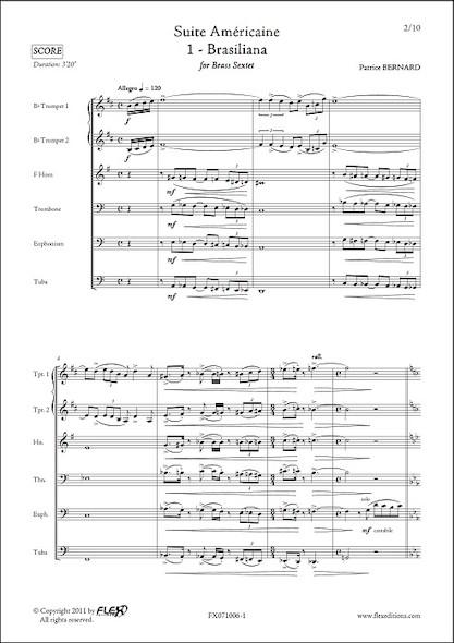 Suite Américaine - 1 - Brasiliana - P. BERNARD - Sextuor de Cuivres