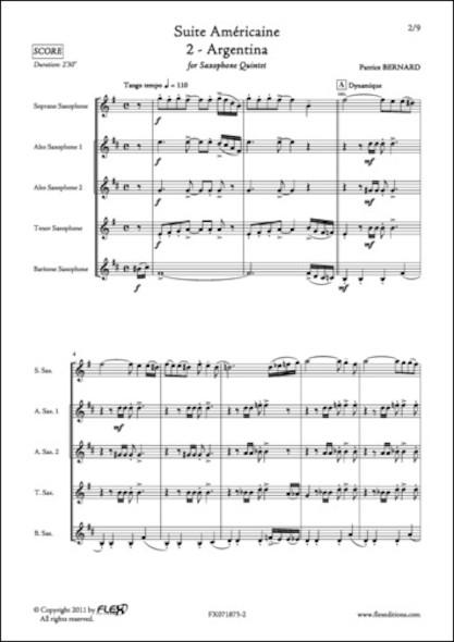 Suite Américaine - 2 - Argentina - P. BERNARD - Quintette de Saxophones