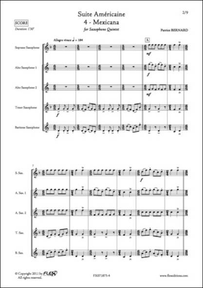 Suite Américaine - 4 - Mexicana - P. BERNARD - Quintette de Saxophones