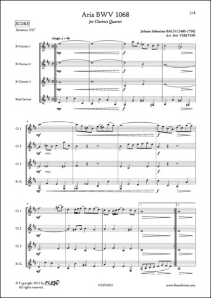 Aria BWV 1068 - J. S. BACH - Quatuor de Clarinettes
