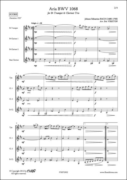 Aria BWV 1068 - J. S. BACH - Trompette et Trio de Clarinettes