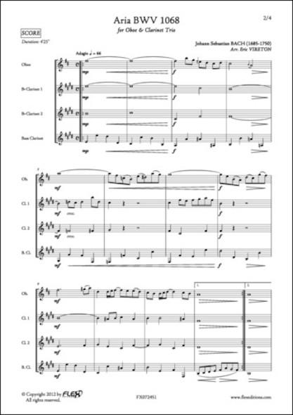 Aria BWV 1068 - J. S. BACH - Hautbois et Trio de Clarinettes