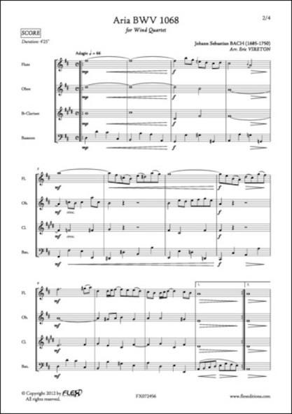 Aria BWV 1068 - J. S. BACH - Quatuor à Vent