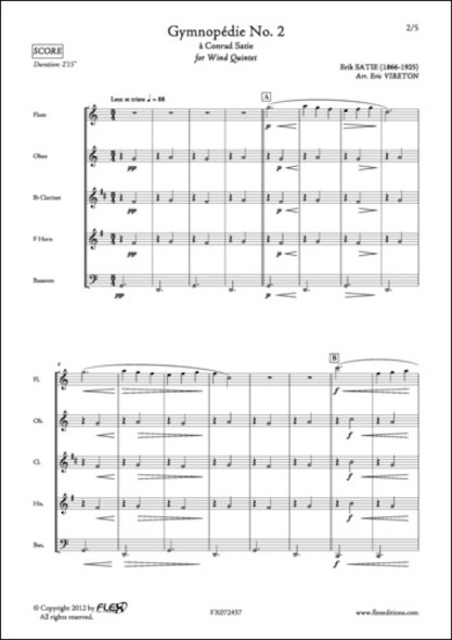 Gymnopédie No. 2 - E. SATIE - Quintette à Vent