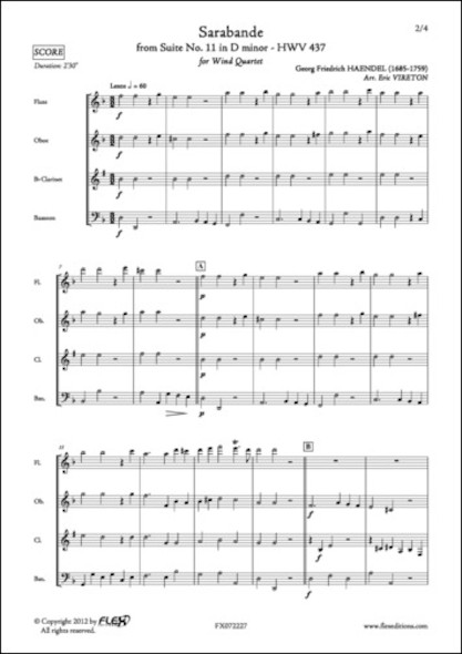 Sarabande - G. F. HAENDEL - Quatuor à Vent