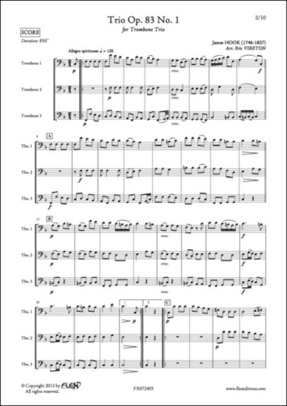Trio Opus 83 No. 1 - J. HOOK - Trio de Trombones