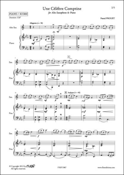 Une Célèbre Comptine - P. PROUST - Saxophone Alto et Piano