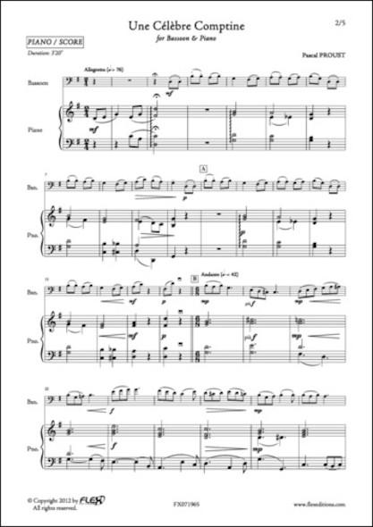 Une Célèbre Comptine - P. PROUST - Basson et Piano