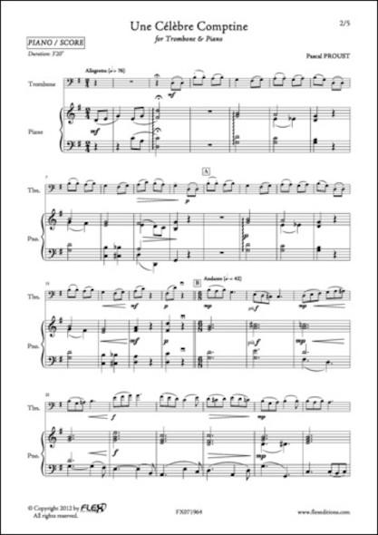 Une Célèbre Comptine - P. PROUST - Trombone et Piano