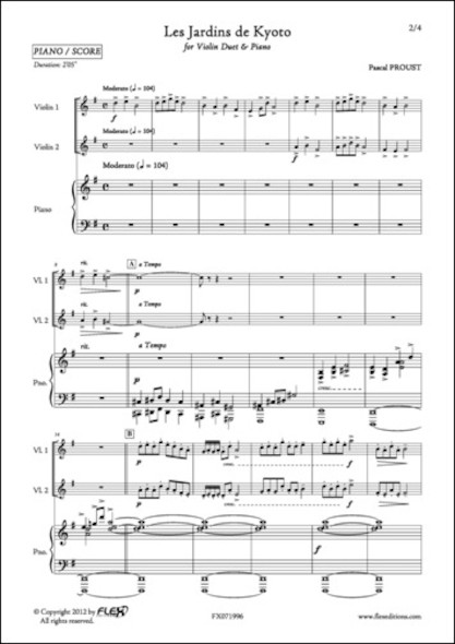 Les Jardins de Kyoto - P. PROUST - Duo de Violons et Piano