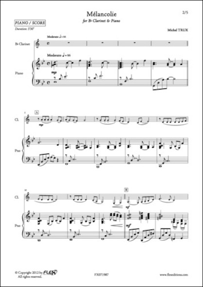 Mélancolie - M. TRUX - Clarinette et Piano