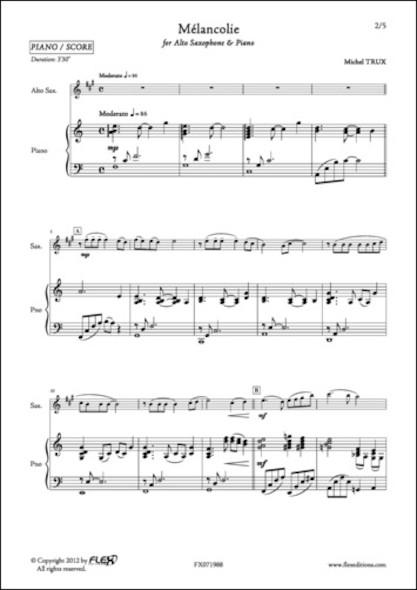 Mélancolie - M. TRUX - Saxophone Alto et Piano