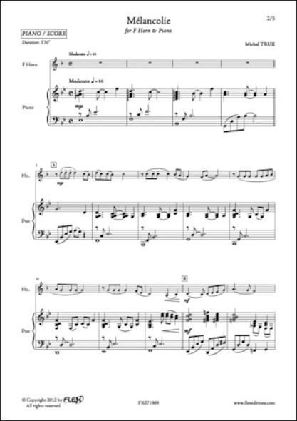 Mélancolie - M. TRUX - Cor et Piano